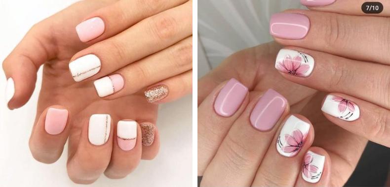 Unghie bianche e rosa